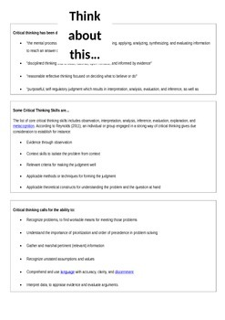 What does it mean to think critically? Handout for students