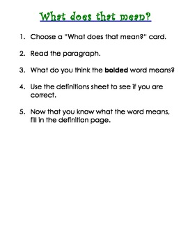 What does that mean? Definitions activity
