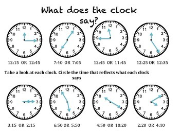 What does the Clock Say? (Time worksheet)