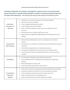 What does the Instructional Coach Do?