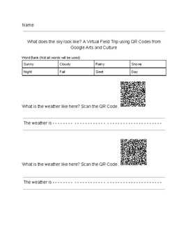 What does the sky look like? A Virtual Fieldtrip using QR Codes