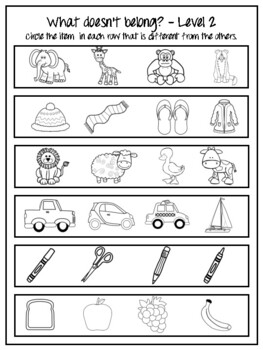 What doesn't belong? Categories Worksheets!