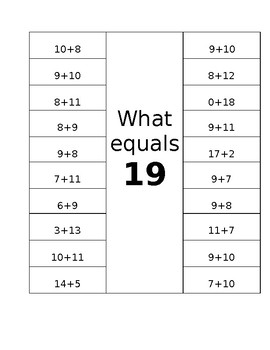 What equals 19