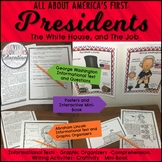 US Presidents George Washington, Abraham Lincoln, and The White House