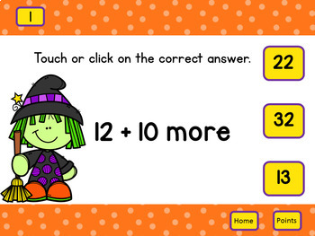 What is 10 More?  Addition 1st Grade  Self-Correcting Interactive PowerPoint