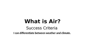 What is Air? The Water Cycle