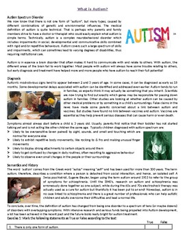 What is Autism - Reading Comprehension Worksheet / Informational Text