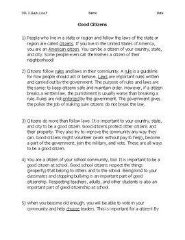 What is Citizenship? SOL SS 3.11 Passage with Test Prep Questions
