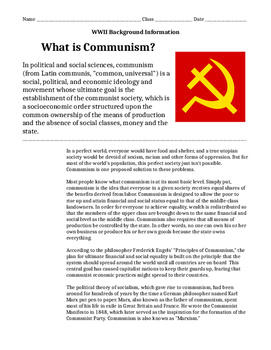 What is Communism? Reading and Activity -History/Social Studies