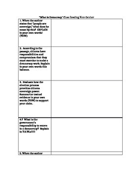 What is Democracy article & close-reading Questions