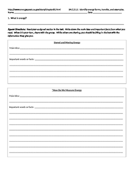 What is Energy? Jigsaw Online Reading Activity (energy forms and transfer)