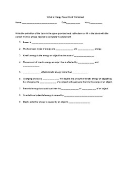 What is Energy Power Point Worksheet and Answer Key