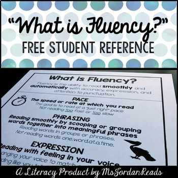 "FREE Fluency Reference Sheet - ""What is Fluency?"""