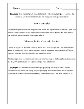 What is Geography? Worksheet