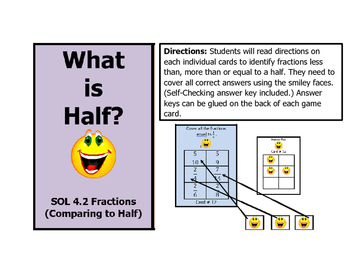 Math VA SOL 4th Fractions What is Half?