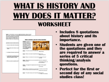What is History & Why Does it Matter? activity - Global/Wo