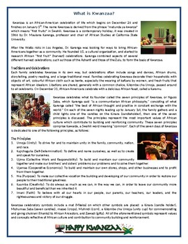 What is Kwanzaa? - Reading Comprehension Worksheet