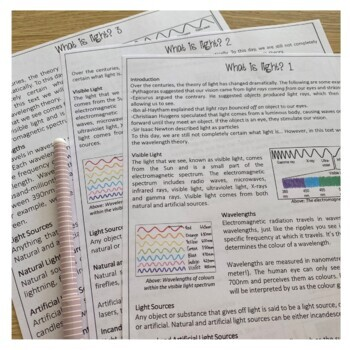 What is Light? Differentiated information texts. PACKET