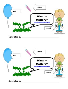 What is Matter?  A booklet for the primary grades!