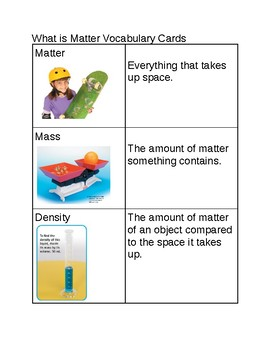 What is Matter? Vocabulary cards