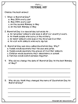 What is Memorial Day minibook / reading passage and activity pages