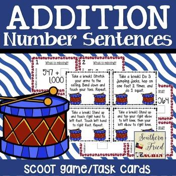 Addition Number Sentences Scoot Game/Task Cards