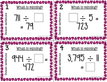 Division Number Sentences Scoot Game/Task Cards