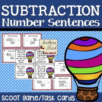 Subtraction Number Sentences Scoot Game/Task Cards