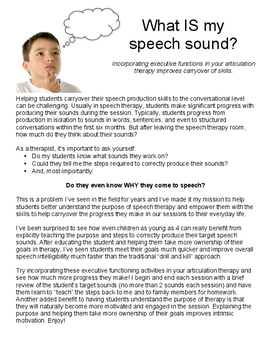 What is My Speech Sound? Incorporating executive functions in artic therapy