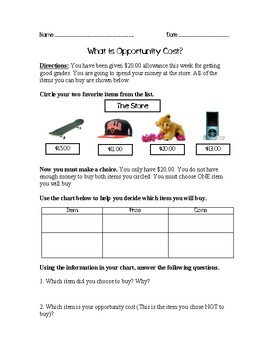 Opportunity Costs Worksheet Teaching Resources Teachers Pay Teachers
