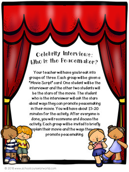 """What is Peacemaking? A """"Celebrity"""" Guidance Lesson for Grades 4-6"""