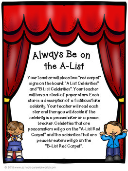 """What is Peacemaking? A """"Celebrity"""" Guidance Lesson for Grades K-1"""