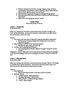 What is Poetry Unit Plan