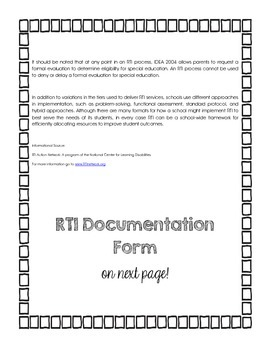 What is RTI: Information and Data Form