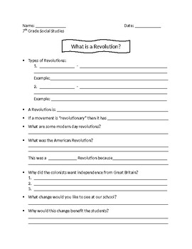 What is Revolution? Guided Notes Sheet