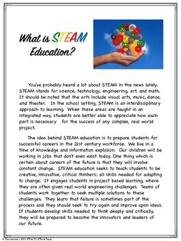 What is STEAM?  A Parent Handout