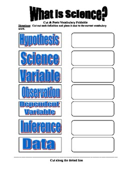 What is Science? Vocabulary Foldable