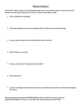 What is Sociology Activity