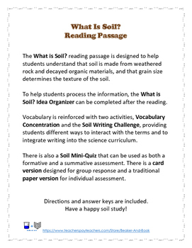 What is Soil? Reading Passage Pack
