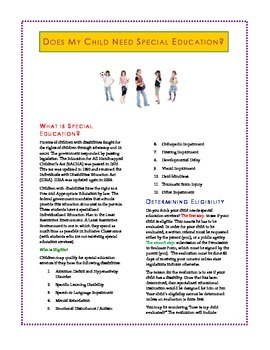 Special Education Free Brochure for Parents and Teachers