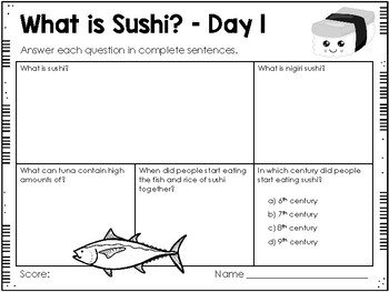 What is Sushi? - Weekly Reading Passage and Questions