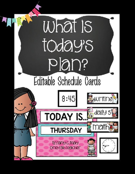 What is The Plan Today?Editable Schedule Cards (Black)