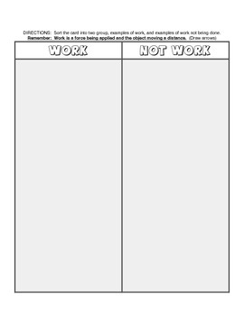 What is WORK? Sort and Graphic Organizer