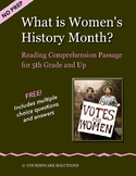 What is Women's History Month?  A Reading Passage for 5th Grade and up