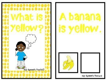 """""""What is Yellow?"""" An Adapted Speech Therapy Book About Colors"""