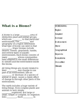 What is a Biome?  --  CLOZE Reading