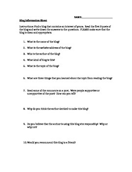 What is a Blog? Worksheet