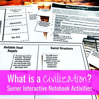 What is a Civilization? Sumerian / Mesopotamian Interactive Notebook Activities