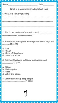 What is a Community, Unit one-Second Grade