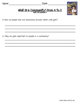2014 What is a Community? from A to Z ReadyGen Lesson 6 Main Idea